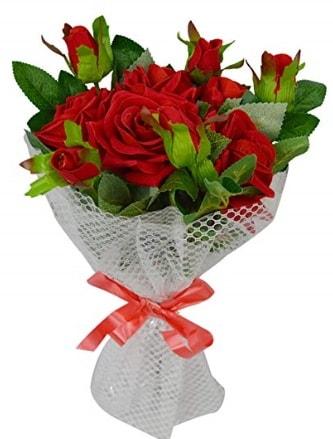 9 adet kırmızı gülden sade şık buket  Şırnak ucuz çiçek gönder