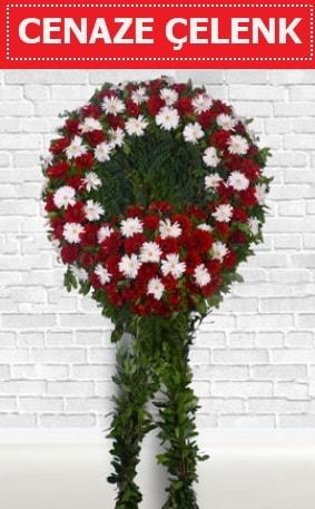 Kırmızı Beyaz Çelenk Cenaze çiçeği  Şırnak çiçek gönderme