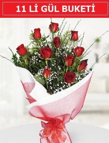 11 adet kırmızı gül buketi Aşk budur  Şırnak çiçekçi telefonları