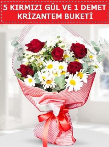 5 adet kırmızı gül ve krizantem buketi  Şırnak hediye çiçek yolla