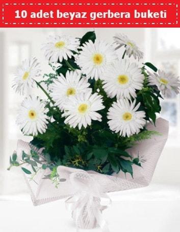 10 Adet beyaz gerbera buketi  Şırnak çiçekçi mağazası