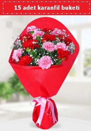15 adet karanfilden hazırlanmış buket  Şırnak anneler günü çiçek yolla